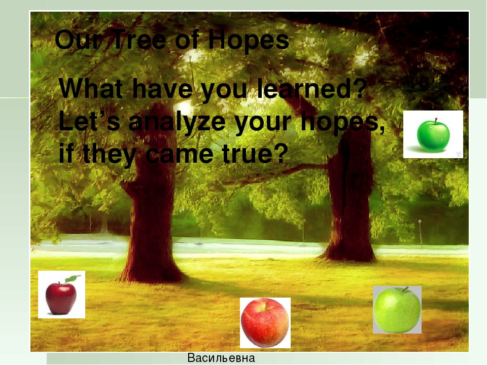 Let's build a Tree of Hopes Карпович Татьяна Васильевна Our Tree of Hopes Wha...
