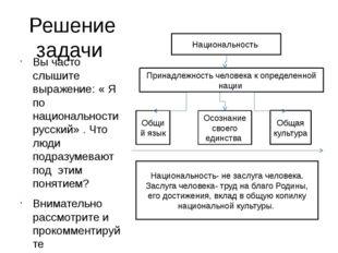 Решение задачи Вы часто слышите выражение: « Я по национальности русский» . Ч