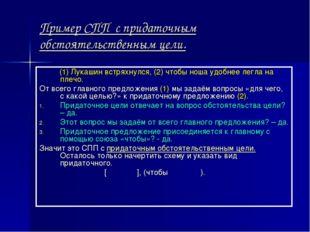 Пример СПП с придаточным обстоятельственным цели. (1) Лукашин встряхнулся, (2