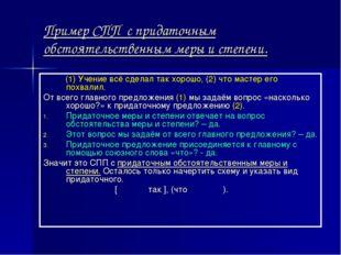 Пример СПП с придаточным обстоятельственным меры и степени. (1) Учение всё сд