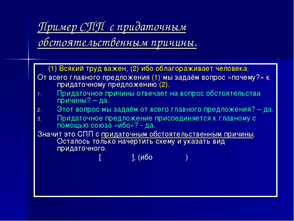 Пример СПП с придаточным обстоятельственным причины. (1) Всякий труд важен, (...