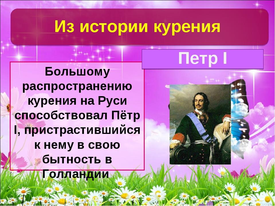 Большому распространению курения на Руси способствовал Пётр I, пристрастивший...