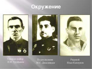 Окружение Генерал-майор Н.И. Труфанов Подполковник М.С. Диасамидзе Рядовой Ил