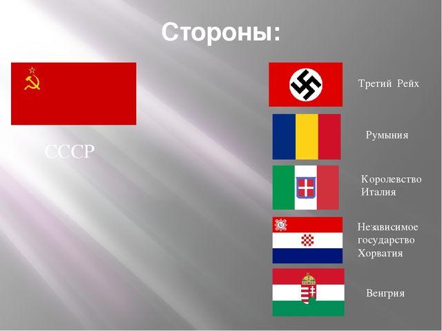 Стороны: Третий Рейх Румыния Королевство Италия Венгрия Независимое государст...