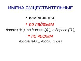 ИМЕНА СУЩЕСТВИТЕЛЬНЫЕ изменяются: по падежам дорога (И.), по дороге (Д.), о д