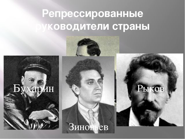 Репрессированные руководители страны Каменев Бухарин Рыков Зиновьев