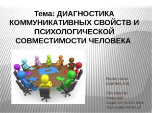 Выполнила: Брагина А.В.  Проверила: Кандидат педагогических наук Пояркова Н