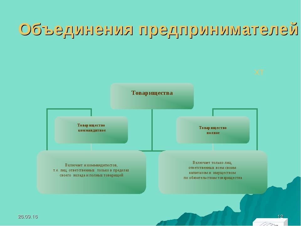 Объединения предпринимателей ХТ * *