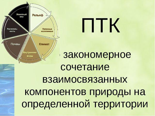 - это закономерное сочетание взаимосвязанных компонентов природы на определе...
