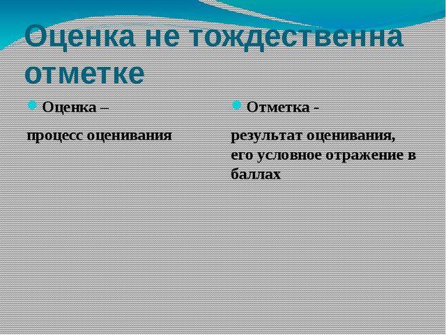 Оценка не тождественна отметке Оценка – процесс оценивания Отметка - результа...
