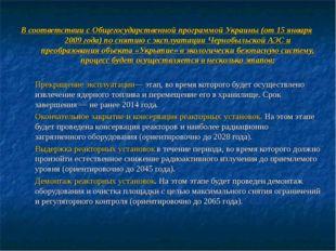 В соответствии с Общегосударственной программой Украины (от 15 января 2009 го