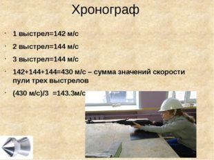 Хронограф 1 выстрел=142 м/с 2 выстрел=144 м/с 3 выстрел=144 м/с 142+144+144=4