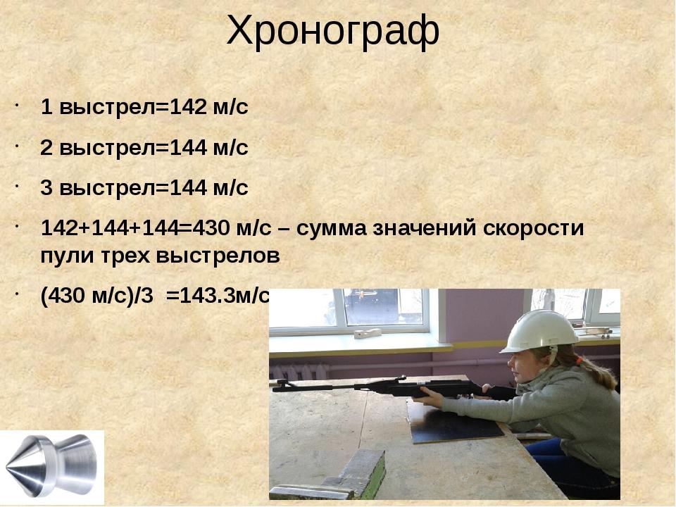Хронограф 1 выстрел=142 м/с 2 выстрел=144 м/с 3 выстрел=144 м/с 142+144+144=4...