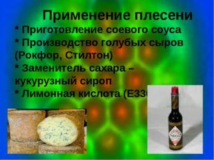 Применение плесени * Приготовление соевого соуса * Производство голубых сыро