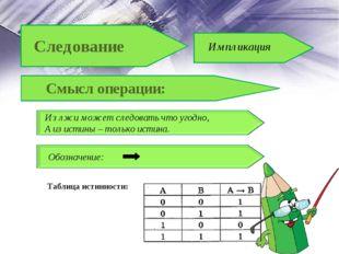 Таблица истинности: Смысл операции: Из лжи может следовать что угодно, А из и