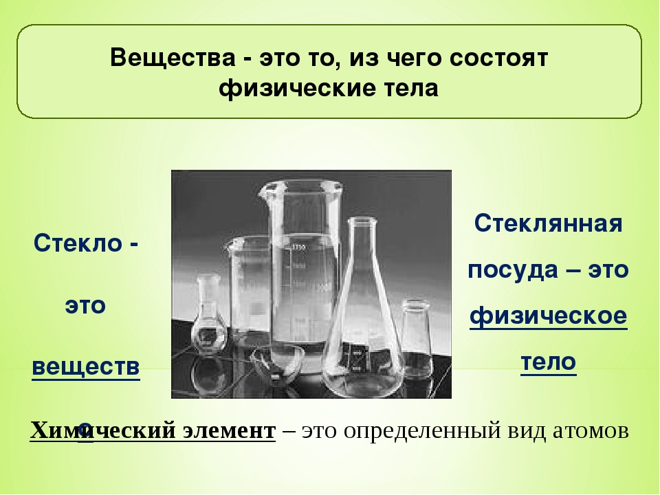 Вещества - это то, из чего состоят физические тела Стекло - это вещество Сте...