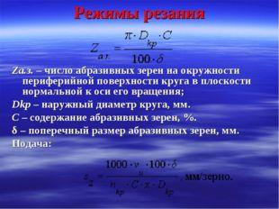 Режимы резания Zа.з. – число абразивных зерен на окружности периферийной пове