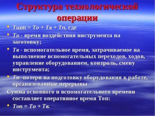 Структура технологической операции Тшт = То + Тв + Тп, где То - время воздейс