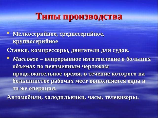 Типы производства Мелкосерийное, среднесерийное, крупносерийное Станки, компр...