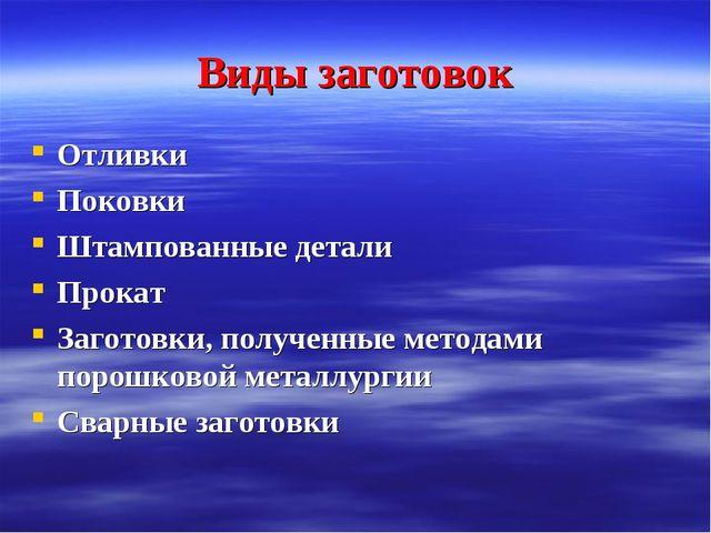 Виды заготовок Отливки Поковки Штампованные детали Прокат Заготовки, полученн...
