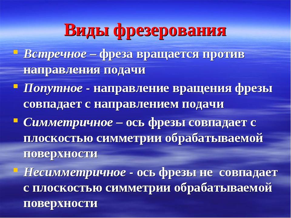 Виды фрезерования Встречное – фреза вращается против направления подачи Попут...
