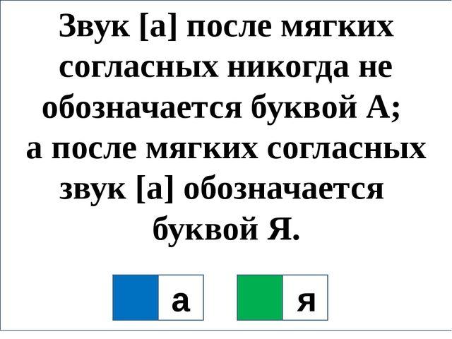 Звук [а] после мягких согласных никогда не обозначается буквой А; а после мяг...