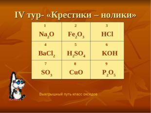 IV тур- «Крестики – нолики» Выигрышный путь класс оксидов 1 Na2O2 Fe2O33 HC