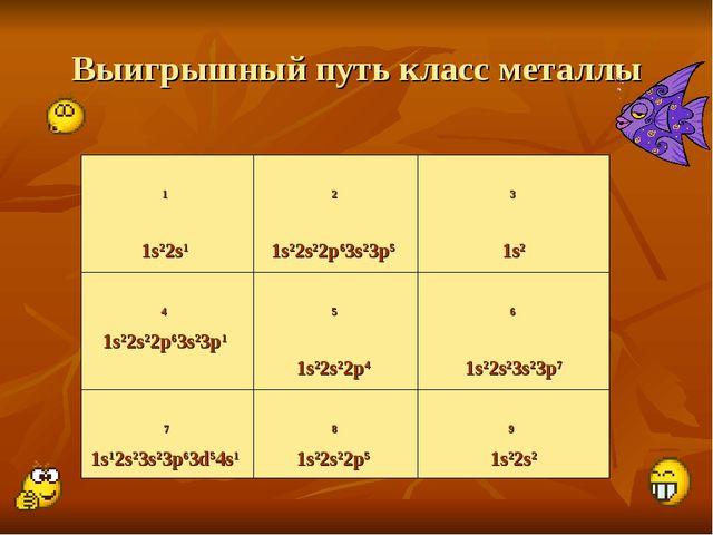 Выигрышный путь класс металлы 1 1s22s1  2 1s22s22p63s23p5  3 1s2 4 1s22s22p...