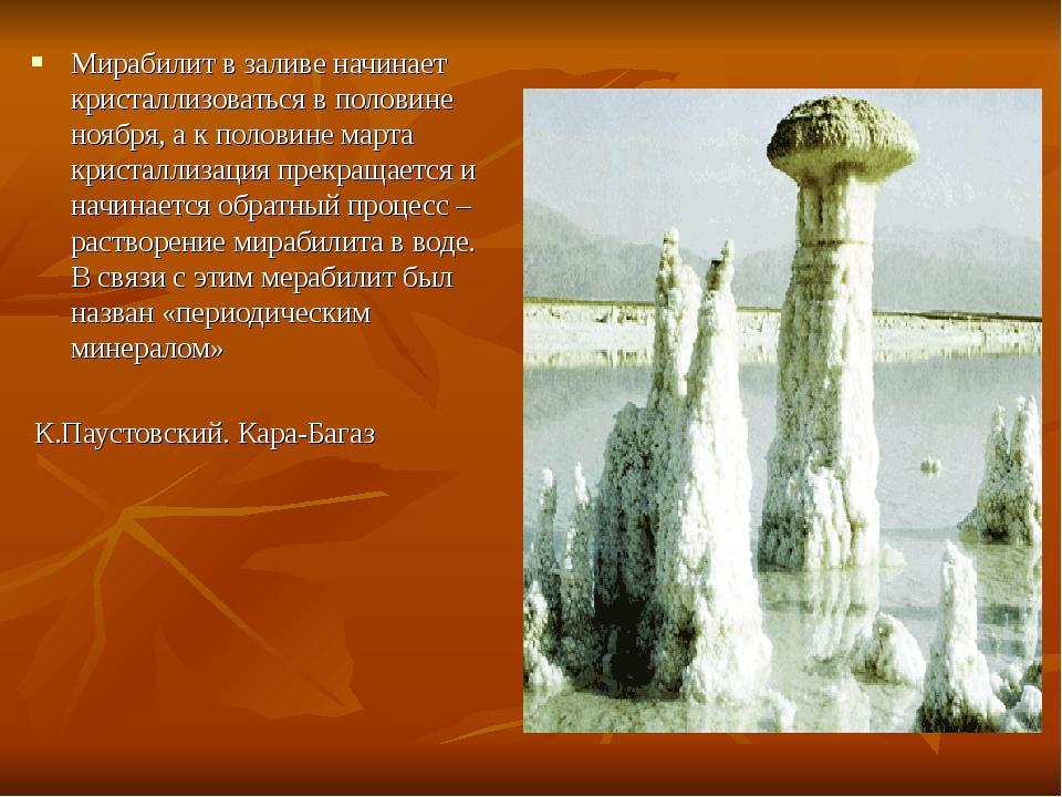 Мирабилит в заливе начинает кристаллизоваться в половине ноября, а к половине...