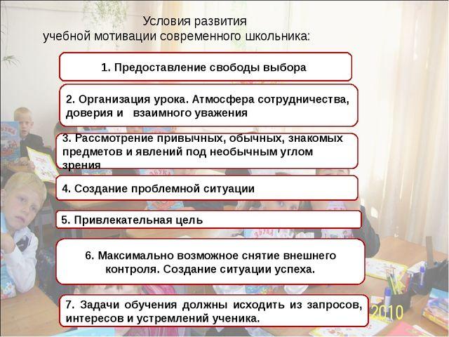Условия развития учебной мотивации современного школьника: 1. Предоставление...