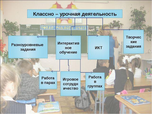 Классно – урочная деятельность ИКТ Интерактивное обучение Творческие задания...
