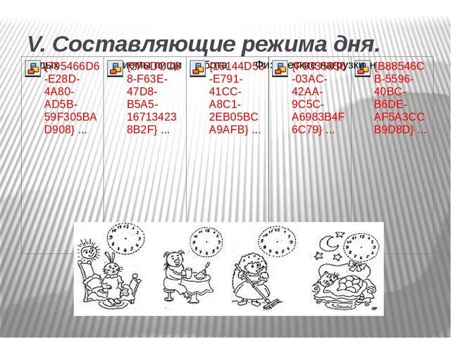 V. Составляющие режима дня.