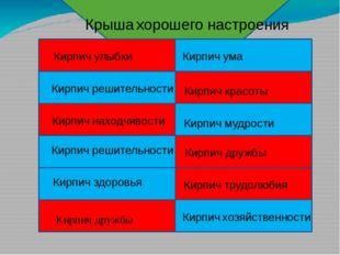 Кирпич дружбы Кирпич хозяйственности Кирпич здоровья Кирпич трудолюбия Кирпи