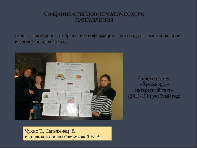 СОЗДАНИЕ СТЕНДОВ ТЕМАТИЧЕСКОГО НАПРАВЛЕНИЯ Цель - наглядное отображение инфор...