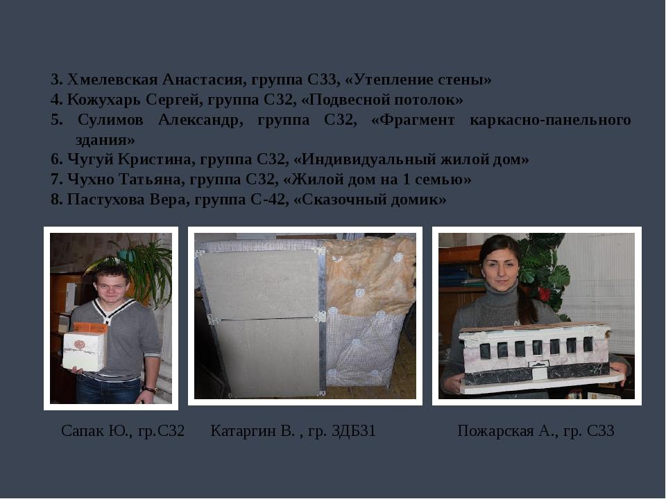 3. Хмелевская Анастасия, группа С33, «Утепление стены» 4. Кожухарь Сергей, гр...