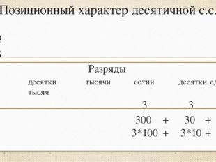 Позиционный характер десятичной с.с. 333 32478 Разряды сотнидесяткитысячи