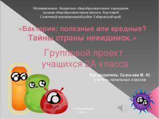 «Бактерии: полезные или вредные? Тайны страны невидимок.» Групповой проект уч
