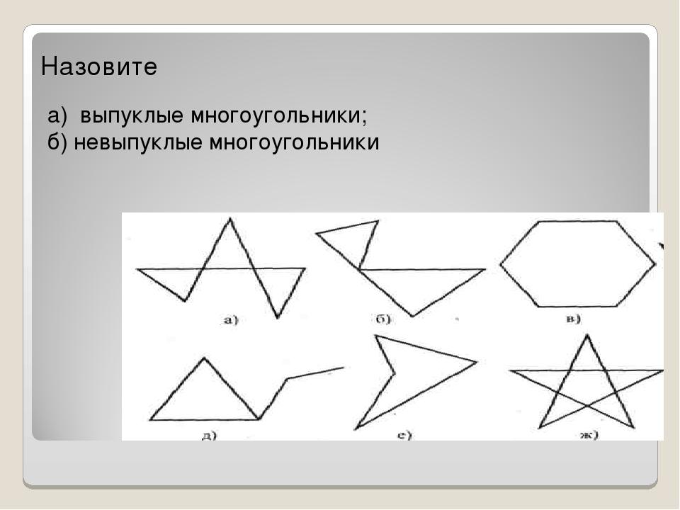Назовите а) выпуклые многоугольники; б) невыпуклые многоугольники