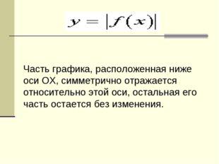 Часть графика, расположенная ниже оси OX, симметрично отражается относительно