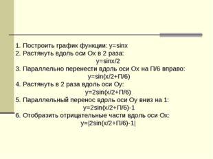 1. Построить график функции: y=sinx 2. Растянуть вдоль оси Ох в 2 раза: y=sin