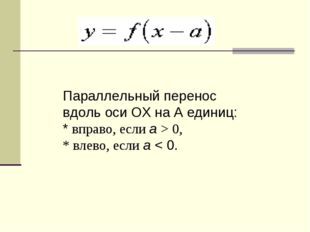Параллельный перенос вдоль оси OХ на A единиц: * вправо, если a> 0, * влево,