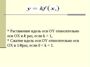 * Растяжение вдоль оси OY относительно оси OX вkраз, если k > 1, * Сжатие в