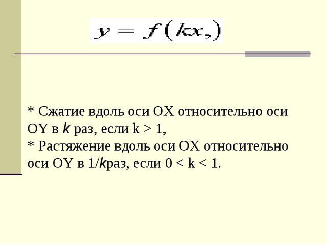 * Сжатие вдоль оси OX относительно оси OY вkраз, если k > 1, * Растяжение в...