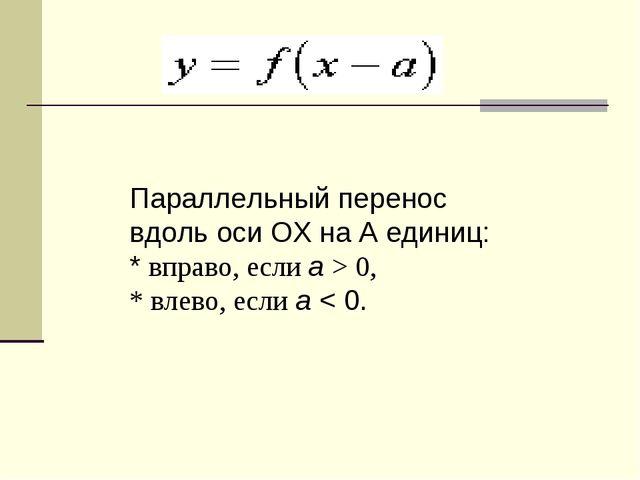 Параллельный перенос вдоль оси OХ на A единиц: * вправо, если a> 0, * влево,...