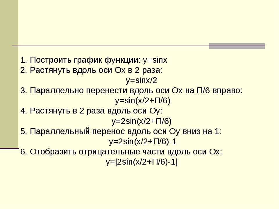 1. Построить график функции: y=sinx 2. Растянуть вдоль оси Ох в 2 раза: y=sin...