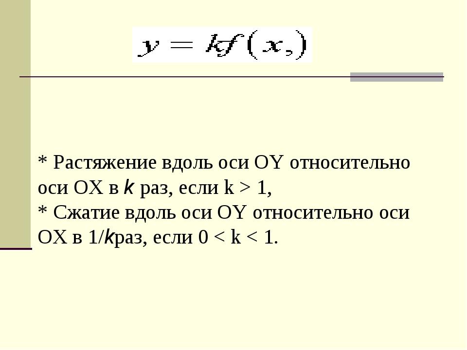 * Растяжение вдоль оси OY относительно оси OX вkраз, если k > 1, * Сжатие в...