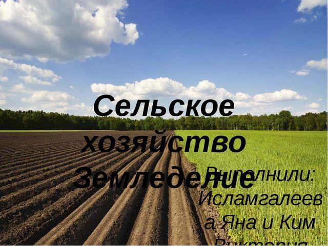 Сельское хозяйство Земледелие Выполнили: Исламгалеева Яна и Ким Виктория Руко...