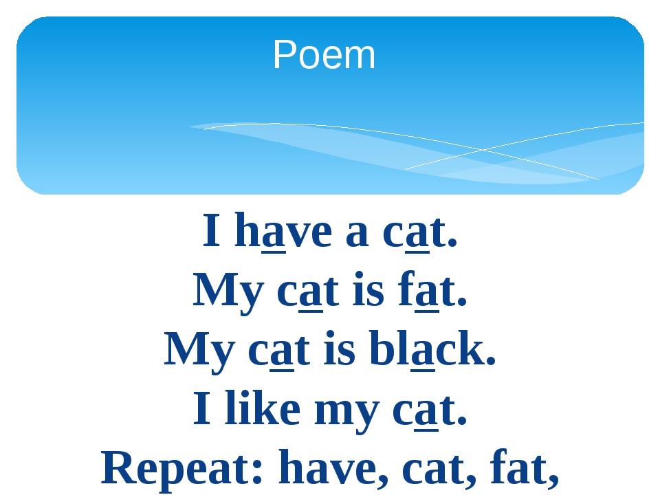 I have a cat. My cat is fat. My cat is black. I like my cat. Repeat: have, ca...