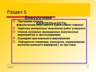 * * Раздел 5 Внеурочная деятельность Программа кружка факультатива, эл