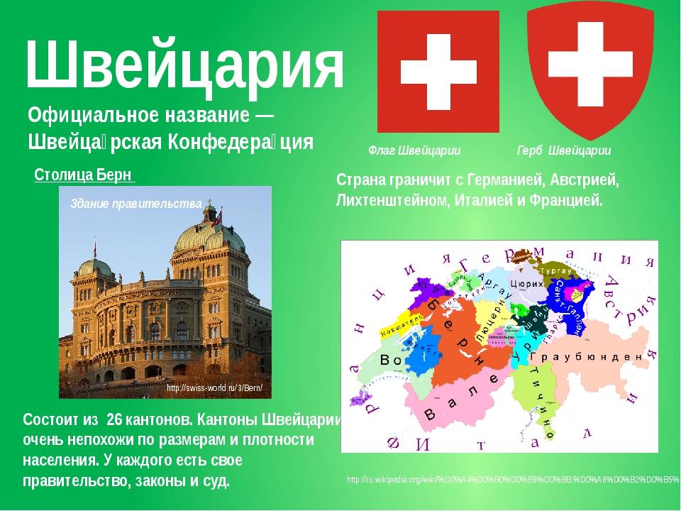 Швейцария Официальное название— Швейца́рская Конфедера́ция Состоит из 26 кан...